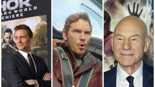Zľava: Tom Hiddleston, Chris Pratt a sir Patrick Stewart