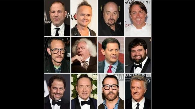 (Zhora zľava) Harvey Weinstein, Roy Price, James Toback, John Besh, second row from left, Terry Richardson, Leon Wieseltier, Mark Halperin, Andy Signore and bottom row from left, Brett Ratner, Kevin Spacey, Jeremy Piven a Dustin Hoffman.