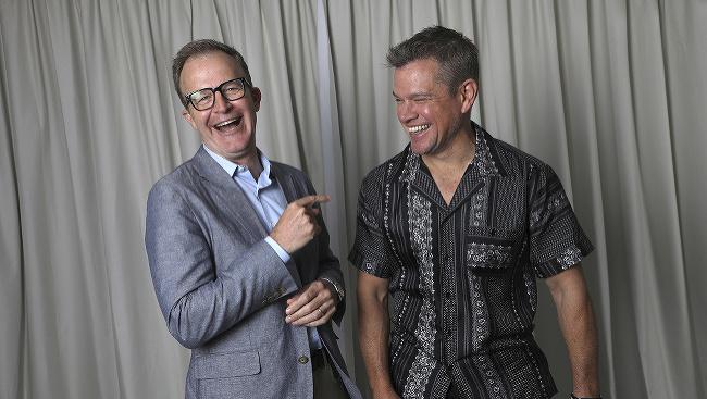 Režisér Tom McCarthy a Matt Damon pózujú v Cannes počas premiéry filmu Stillwater