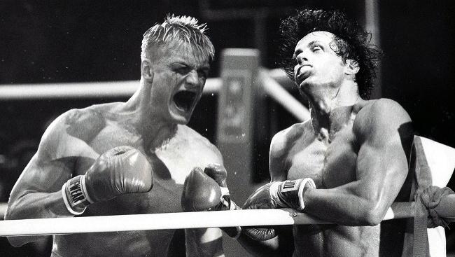Sylvester Stallone a Dolph Lundgren vo filme Rocky IV